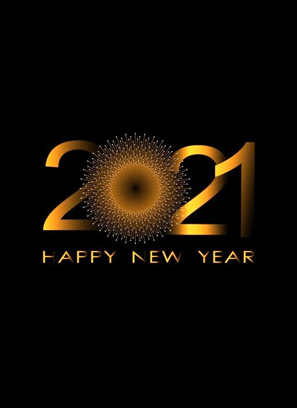 Stylized Happy New Year 2021 image with greetings from the Clark Davis Associates staffing team!