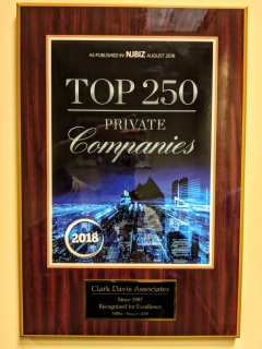 photo of NJBIZ TOP250 Award granted to Clark Davis Associates staffing agency in Parsippany NJ